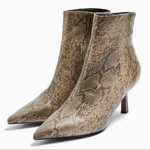 Topshop MACI Snake Print Pointed Boots